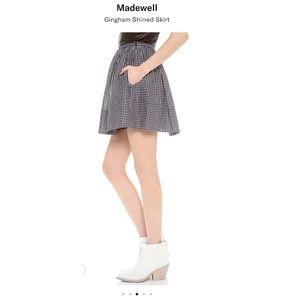 Madewell Black White Gingham Shirred Skirt 2 plaid